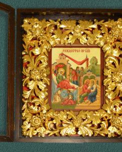 Рождество Богородицы в резном золоченом киоте